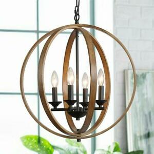 LNC Lora 20 in. 4-Light Black Modern Farmhouse Artisan Iron Globe Chandelier