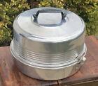 Vintage Regal Aluminum Round Cake Carrier Holder w/ Locking Lid & Storage