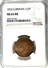 1933 Great Britain 1/2 Penny, NGC MS 65 RB