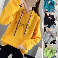 Womens Sweatshirt Long Sleeve Jumper Sweater Pullover Hooded Tops Hoodie Coat US