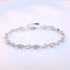 Real 925 Silver Women AAAA Amethyst Crystal Chain Bracelet Fine Jewelry
