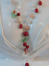 """Vintage Silver t Wired Red Pink Cherry Fruit Salad 27"""" Necklace extender 6b 10"""