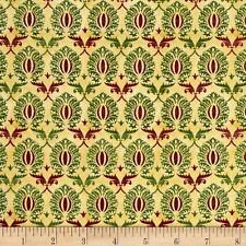 Tis The Season Damask Ecru Beige Christmas 100% cotton fabric by the yard