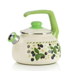 Enameled Kettle Teapot Whistle Blackberry Decal 2.6 qt. Durable from Serbia