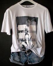 ZARA T-Shirt Bluse Top S 36 38 oversize NEU! weiß mit Frontprint in Graublau TOP