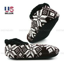 Men Knit Fleece Lined Cushioned Slippers Socks House Shoes Warm Soft Grip Winter
