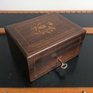 Ancienne Boîte Coffret Marqueterie de Bois XIXème
