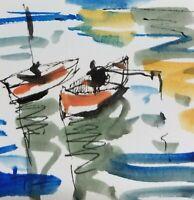 JOSE TRUJILLO - ORIGINAL Watercolor Painting SIGNED Small 3x3 Fishing Boats