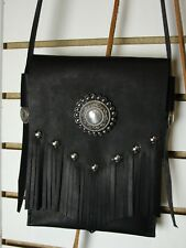 Leather Cross body Purse with Fringe and Chrome concho and studs