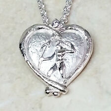 "SeidenGang Sterling Silver Bas Relief Heart Pendant 18"" Chain Qvc"