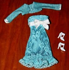 BARBIE DOLL  BLUE SLEEVELESS LACE DRESS, CROPPED SWEATER, & SHOES
