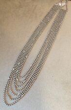 18K White Gold Bead Necklace w/Bezel Set Diamonds- 26 inch -7 Strand - HM1547EI