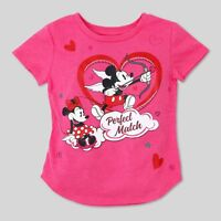 Toddler Minnie Mickey Mouse Valentines Perfect Match Love T-Shirt~Velour Accent