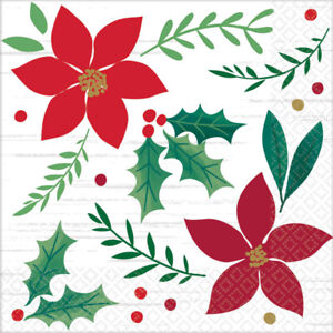 16 CHRISTMAS NAPKINS holly green red cocktail beverage serviettes party santa