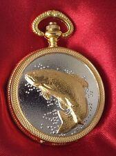 montre gousset style ancienne métal couleur or/argent rodié poisson pêcheur