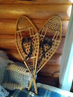 Vintage Canadian Snowtrek snowshoes 14 X 42 with bindings, leather webbing