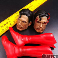 Superman Head Sculpt Fit 1/6 Action Figure Model Two Head Red Boots Collection