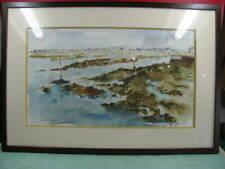 Pornichet, aquarelle oeuvre du verrier P. Millous Chartres, 82, chambre d'hôte