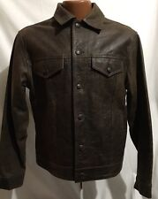 Vintage 90's Gap Jeans 4 Pocket Brown Leather Trucker Jacket Sz Small