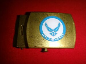 US AIR FORCE Brass Metal Belt Buckle, Made In USA Good Wearing