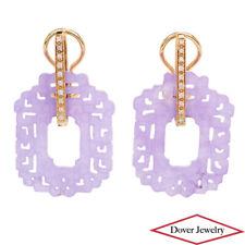 Estate Diamond Lavender Jade 14K Gold Meander Hoop Earrings 8.4 Grams NR