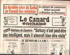 CANARD ENCHAINÉ Birthday Newspaper JOURNAL NAISSANCE 22 AVRIL APRIL 2009