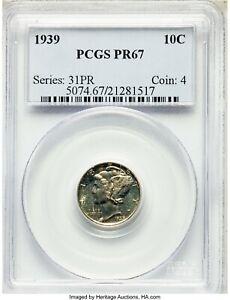 1939 Mercury Dime PCGS Proof 67 - White Original Look - No Issues - kns