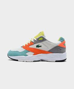 Men's Lacoste Storm 96 LO Casual Shoes Orange/ Green New
