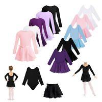 Girl Ballet Dance Dress Leotard Kids Top+Tied Skirt Autumn Outfit Dancewear 2pcs