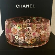 CHANEL LUCITE INLAID MULTI FLOWERS PEARL 4 CC LOGO CRYSTALS  BRACELET BANGLE