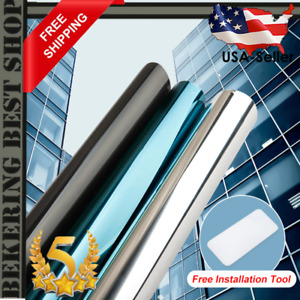 Top One Way Mirror Window Film Vinyl Self-adhesive Reflective Solar film HQ US🔥