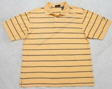 Large Short Sleeve Nick Price Yellow & Black Polyester Men's Polo Shirt Striped
