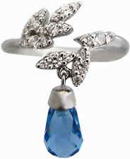 BLUE CRYSTAL DROP RING HALLMARKED 925 STERLING SILVER NEW FROM ARI D NORMAN
