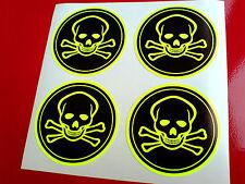 FLOURESCENT JOLLY ROGER Pirates Skull & Crossbones Helmet Stickers 4 off 50mm