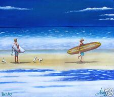 art print glass frame by Andy Baker Street art beach painting Australia coa