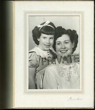"Antique Photo in Folder - Young Mother & Little Girl With Hair Bow 9"" x 7"""