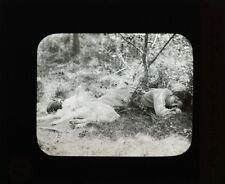 PHOTO ON GLASS BLACK   WHITE -- MOTHER DAS LA PALACE DE BARNIZON