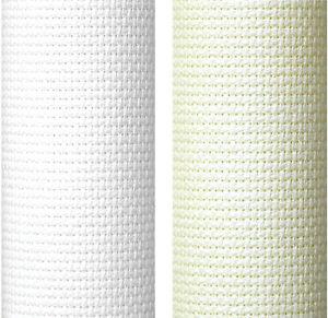 14 Count Aida Fabric 100% Cotton Cross Stitch in White & Cream Various Sizes