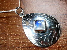 Moonstone Convex Hammered Square on Teardrop Necklace 925 Sterling Silver New
