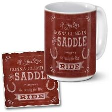 Western Lodge Cabin Decor ~BE READY FOR THE RIDE~ Coaster & Coffee Mug Set
