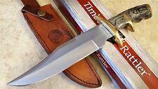 Pakkawood Double guard Bowie Knife Fixed Blade Knife w Leather Sheath