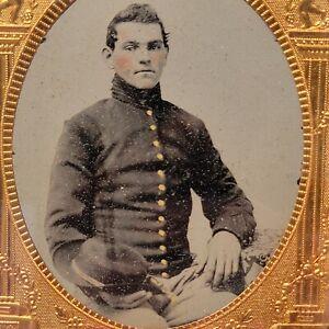 Civil War ambrotype daguerreotype photo Confederate Cavalry soldier boy hat CSA