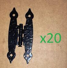 20 Black Antique/Victorian H Hinge Hammered/Wrought Iron Cabinet/Door 3.5 x 1.5