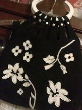 Vintage Mid Century Black/White Floral Leather Handbag/Tote