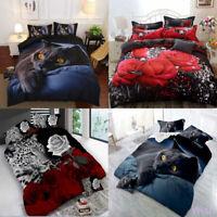 NEW 3D Rose Flower Twin Queen King Size Bedding Pillowcase Quilt Duvet Cover Set