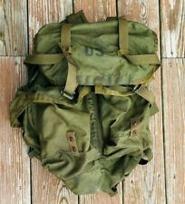 Vtg US Army Green Nylon Military Field Pack ruck Combat Bag Surplus Supplies