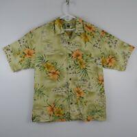 Tommy Bahama 100% Silk Yellow Floral S/S Aloha Camp Hawaiian Shirt Mens Sz L