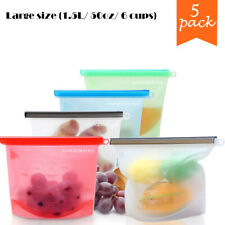 New listing Reusable Food Storage Silicone Bags Leak-Proof Ziplock Seal 5 Large Produce Bags