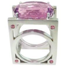 18 Carat Amethyst & Pink Sapphire Sterling Silver Rhodium Statement Ring