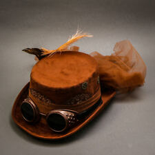 Brown Sexy Lace Victorian Steampunk Goggles Women Top Hat Costume Prom Party Hat